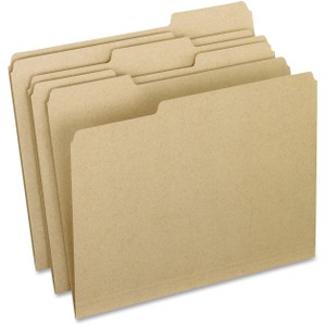 "9 1/2"" x 11 3/4"" Sheet Size - 1/3 Tab Cut - Assorted Position Tab Location - 11 pt. Folder Thickness - Natural - Recycled - 100 / Box"