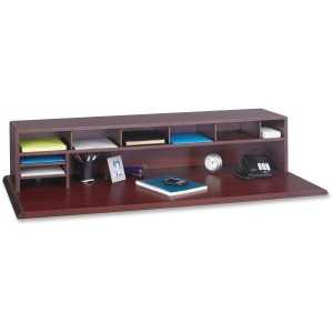 "9 Compartment(s) - 12"" Height x 57.5"" Width x 12"" Depth - Desktop - Recycled - Mahogany - Wood - 1Each"