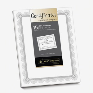 "66lb - 8.5"" x 11"" - Inkjet, Laser Compatible - White, Silver - 15 Certificates / Pack"