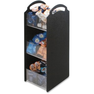 "6 Compartment(s) - 3 Divider(s) - 18"" Height x 6.1"" Width x 8"" Depth - Black - 1Each"