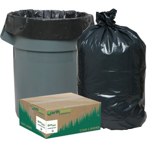 "Small Size - 10 gal - 24"" Width x 23"" Length x 0.85 mil (22 Micron) Thickness - Low Density - Black - Plastic - 500/Carton"
