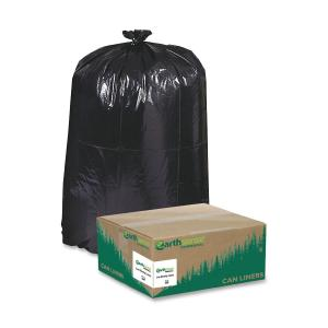 "Large Size - 45 gal - 40"" Width x 46"" Length x 1.25 mil (32 Micron) Thickness - Low Density - Black - Plastic - 100/Carton"