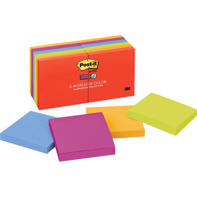 "Post-it® Super Sticky Notes, 3"" x 3"" Marrakesh Collection"
