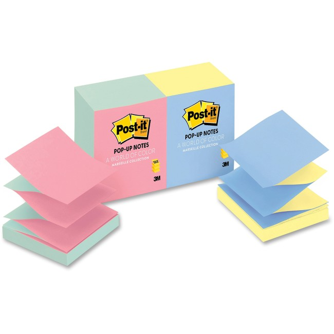 "Post-it® Pop-up Notes, 3""x 3"", Alternating Marseille Collection"