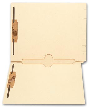 End Tab Folders, Manila, 11pt, 2 Full Pocket, 2 Fastener