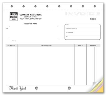 Classic Unlined Small Invoices 2-part