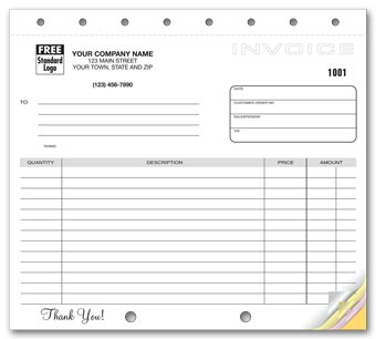 Classic Design, Lined Small Format Invoices 2-part