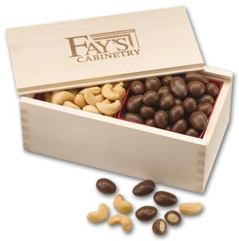 Chocolate Almonds & Cashew Filled Wooden Collectors Box