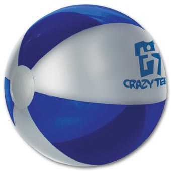16  Silver and Blue Beach Ball