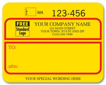 Jumbo Shipping Labels w/ UPS #, Padded, Yellow w/ Red