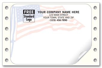 American Flag Mailing Labels, Continuous, White
