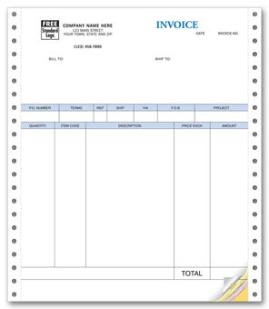Product Invoices, Continuous, Classic 4-part