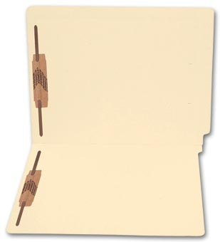 End Tab Full Cut Manila Folder, 11 pt, Two Fastener