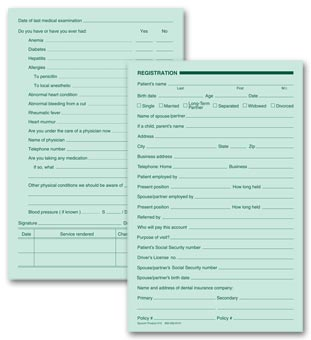 Dental Registration Forms, Two - Sided, Green Ledger