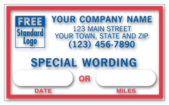 Static Cling Windshield Label, Custom Message