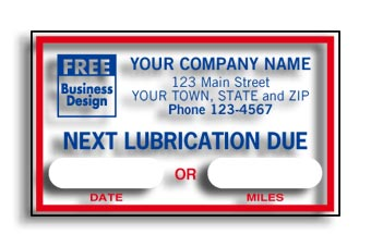 Next Lubrication Due Static Cling Windshield Labels