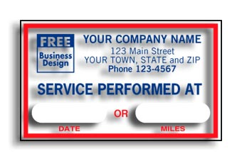 Service Performed At, Static Cling Windshield Labels