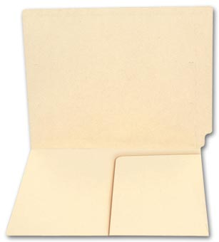 End Tab Half Pocket Manila Folder, 14 pt, No Fastener