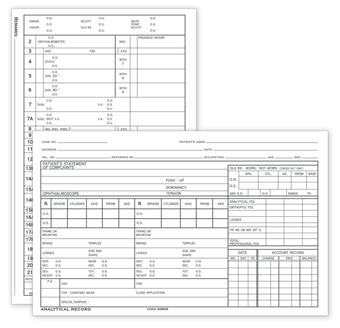 Optometry Analytical Record  Card, Two-Sided, 5  x 8
