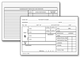 Optometry Record Card, Two - Sided, 4  x 6