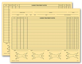 Veterinary Exam Records, Canine, Two - Sided, Buff