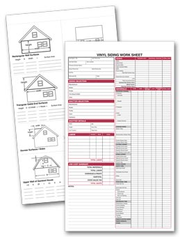 Vinyl Siding Work Sheet