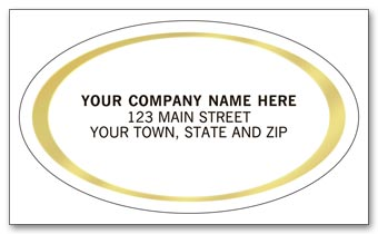 Oval Labels - Advertising Labels - Gold Foil Border
