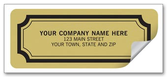 Advertising Labels - 2 1/2 x 1 - Embossed Gold Foil Paper