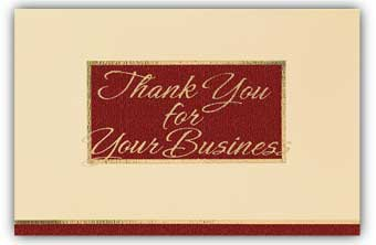 Burgundy/Cream Thank You For Your Business Executive Card