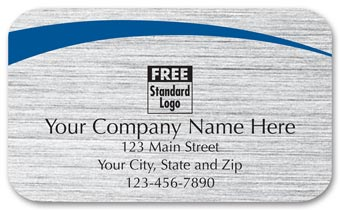 Rectangular Label on Brushed Silver w/Blue Arc 2.5x1.5