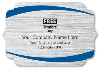 Bracket Label on Brushed Silver Poly w/Blue Arcs 3x2