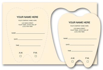 Die-Cut Tooth Shaped Dental Appointment Card, Imprinted