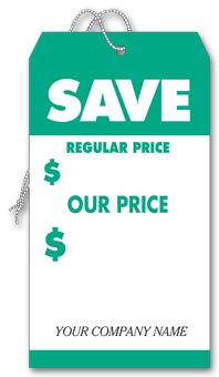 Save Tags, Large, Green & White