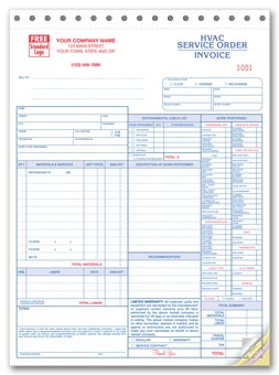 Service Orders, HVAC, w/Checklist, Large Format 3-part