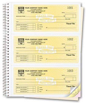 Cash Receipt Books, Classic Design, 3 To Page 2-part