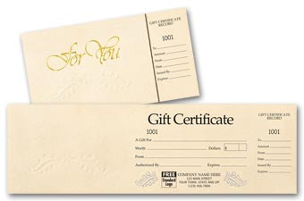 Gift Certificates - Ivory Foil Embossed Gift Certificate