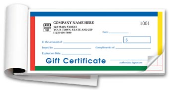 Gift Certificates,  Booked,  Carbonless, Primary Color 2-part