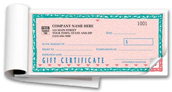St. Croix Gift Certificates, Booked,  Carbonless, Pink 2-part