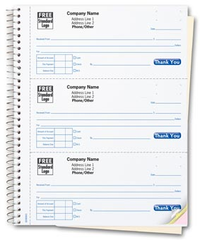 Cash Receipt Books, 3 To a Page, Desk-size 2-part