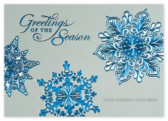 Silver Blue Holiday Cards