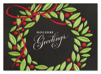 Greetings in Green Holiday Cards