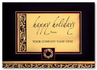 Distinction In Gold Business Holiday Card