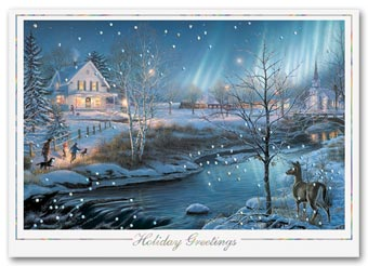 Captivating Northern Lights Holiday Card