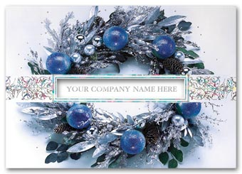 Icy Blue Wreath Business Holiday Card