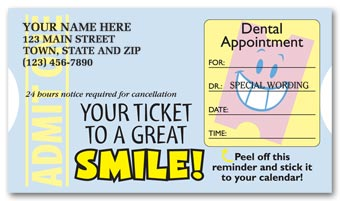 Dental Appointment Cards, Peel and Stick, Admit One Design