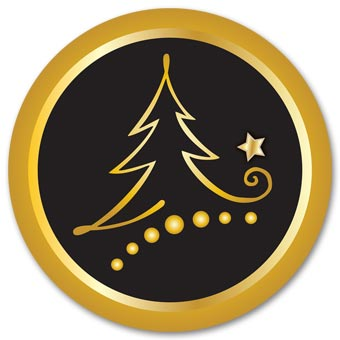 Round Black Tree Christmas Envelope Seal