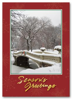 Snowy Bridge Holiday Postcard