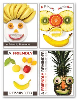 Health Care Reminder Card, Fruit Face Laser Postcard