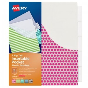 AVERY BIG TAB 5 TAB POCKET  INSERTABLE PLASTIC DIVIDERS SET