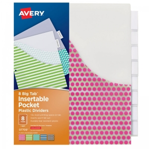 AVERY BIG TAB 8 TAB POCKET  INSERTABLE PLASTIC DIVIDERS SET